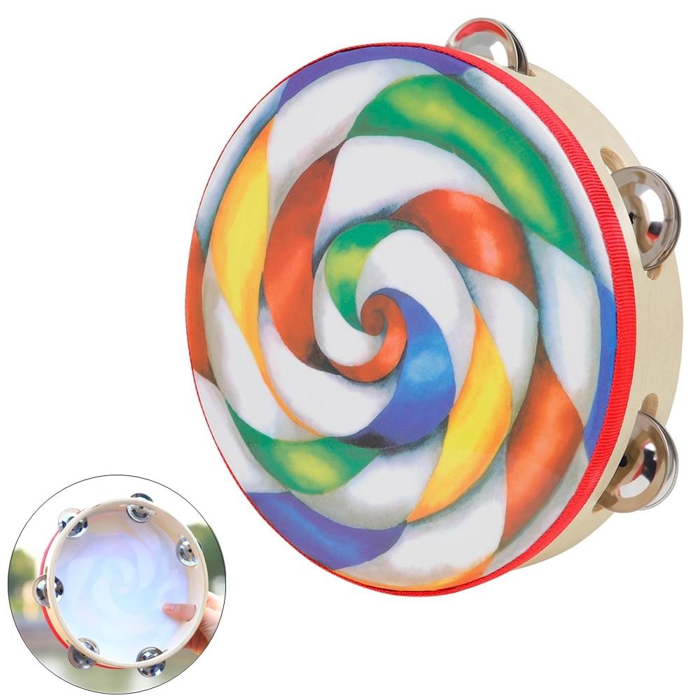 8 Inch Colorful Lollipop Tambourine Drum Round Percussion Durable Lightweight PVC Hand Drum for Children недорого