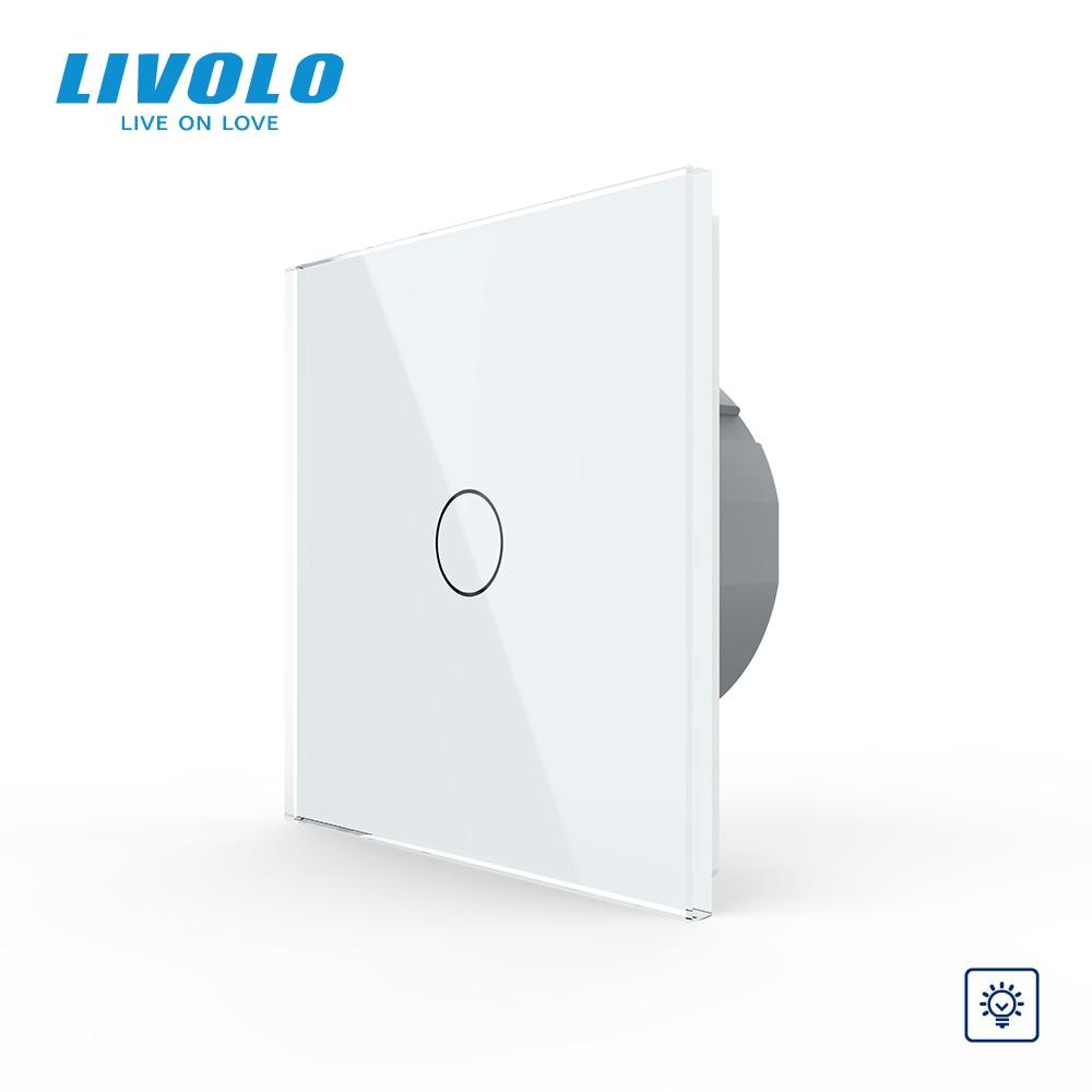 Livolo EU Standard Dimmer Wall Switch,AC 220~250V, Crystal Glass Panel, 1Gang 1 Way Dimmer,VL-C701D-1/2/3/5,no logo