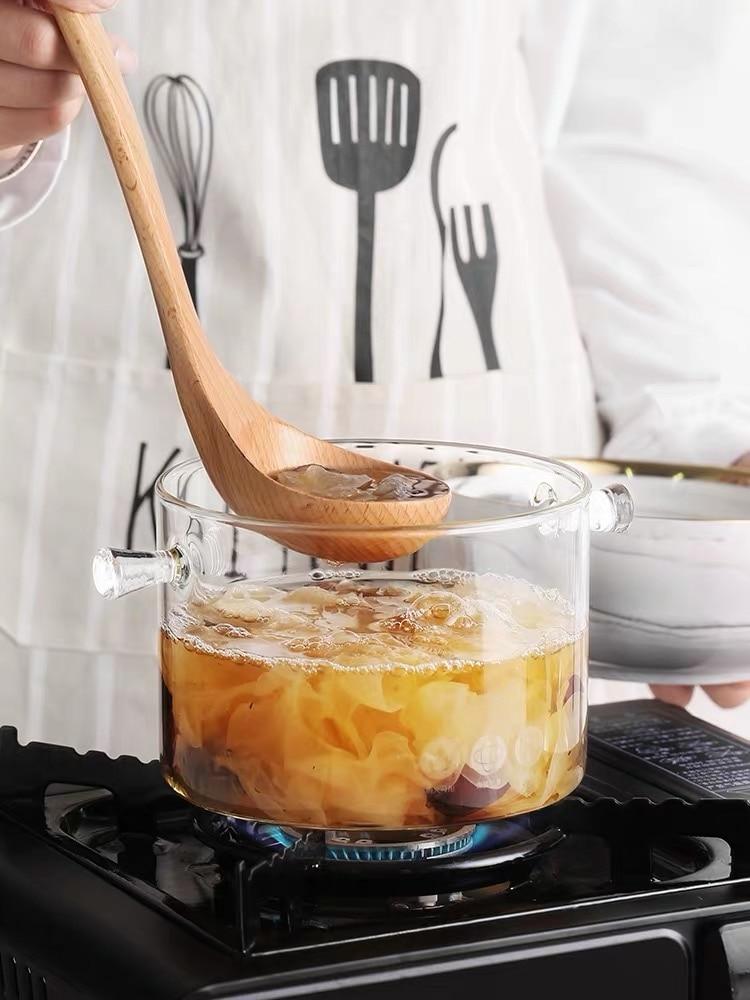 زجاج بوروسيليليك مرتفع مزدوج الأذن إناء للحساء طبق للسلطة كبيرة مقاومة للحرارة مقلاة شفافة تجهيزات المطابخ البخار ثقب المعكرونة المعكرونة