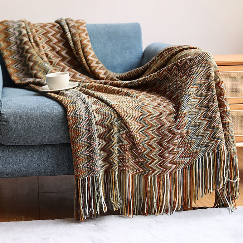 البوهيمي نمط أريكة غطاء بطانية رمي بطانية محبوك السفر مكتب Nap الفاخرة بطانية فندق مكيفة الهواء بطانية