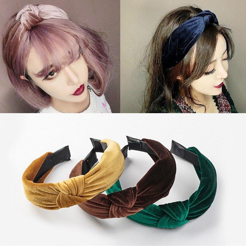 Women Headbands Knot Cross Tie Solid Fashion Velvet Hair Band Headband Girls Bow Hoop Accessories Twist Hairband Headdress