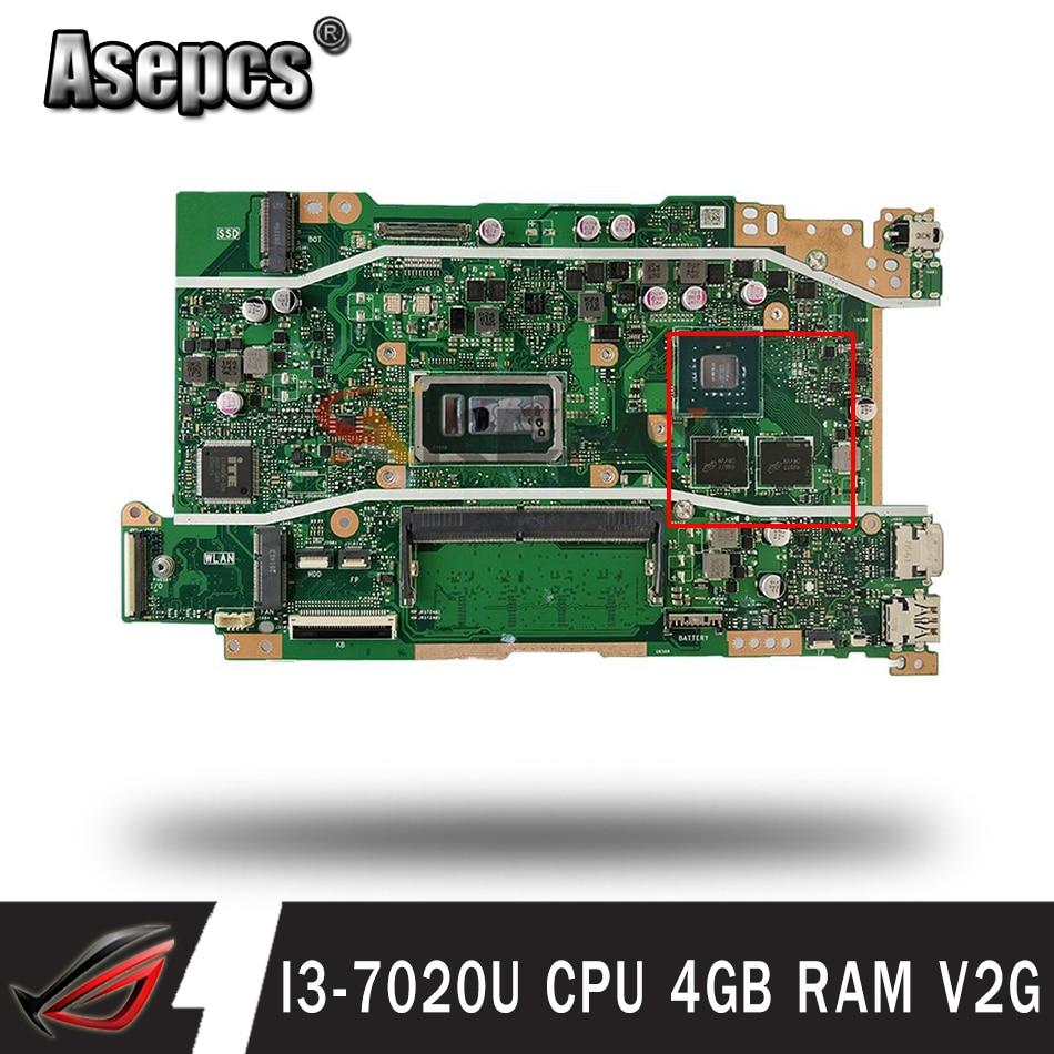 اللوحة الأم X409UJ الأصلية مع وحدة المعالجة المركزية I3-7020U 4GB RAM V2G Akemy ل ASUS X409 X409U X409UJ اللوحة الأم للكمبيوتر المحمول اختبار موافق