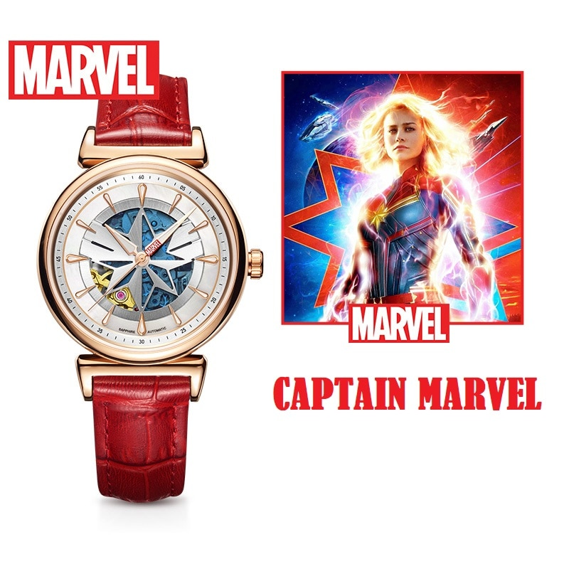 Disney Official The Avengers Captain Marvel Ladies Women Fashion Casual Japan Automatic Wristwatches Hollow Out Perspective Dial enlarge
