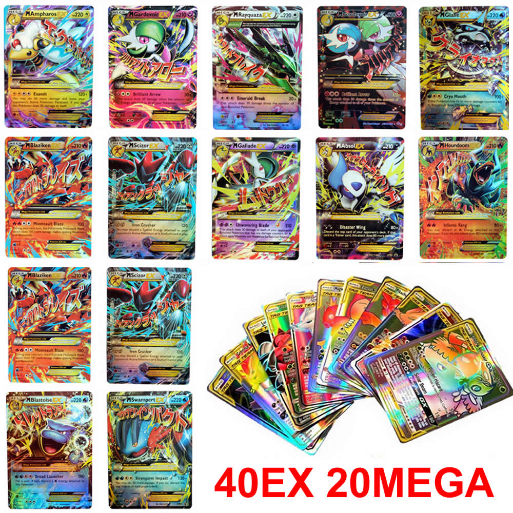 60PCS/Box Pokemon Cards EX MEGA Booster Box TAKARA TOMY English Trading Game Battle Shining Collecto