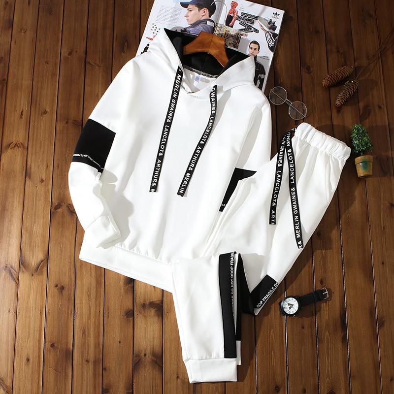 Мужской спортивный пуловер на весну и осень, модный свитер с капюшоном, модный спортивный свитер из двух предметов и брюки, спортивный пулов...