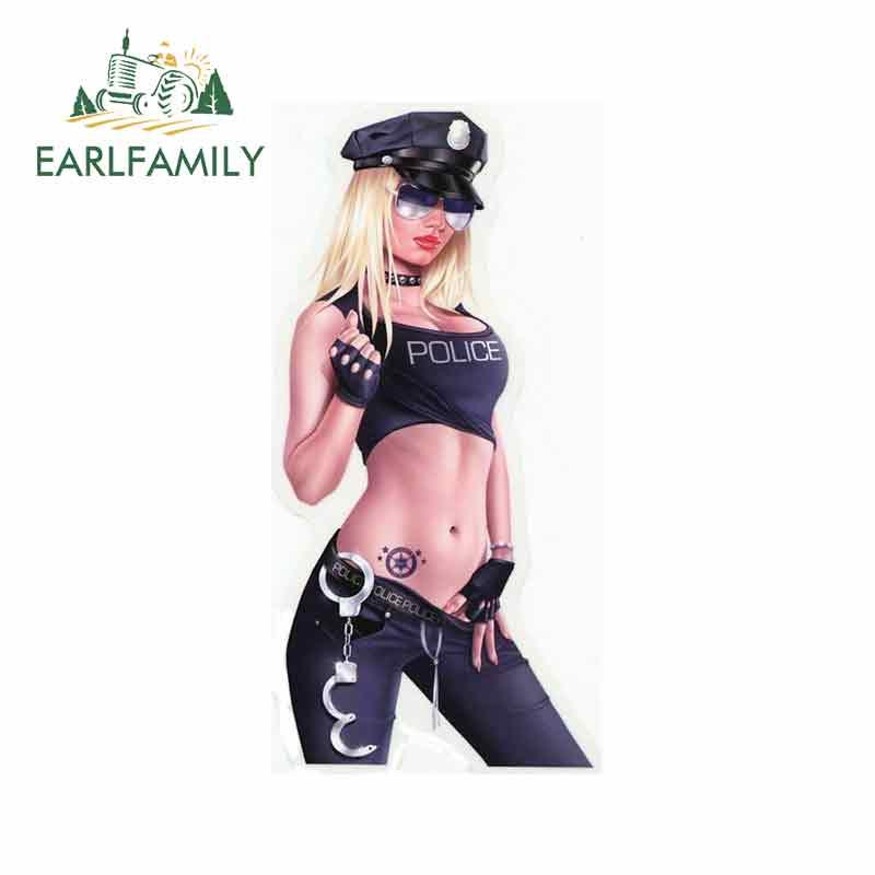 Earlfamily 13cm x 6.3cm sexy loira babe polícia quente stripper cosplay adesivo de carro decalque da motocicleta decoração