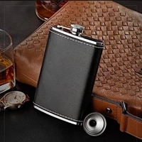 6oz 9oz portable leather covered stainless steel caps for whiskey wine pot men outdoor travel flagon