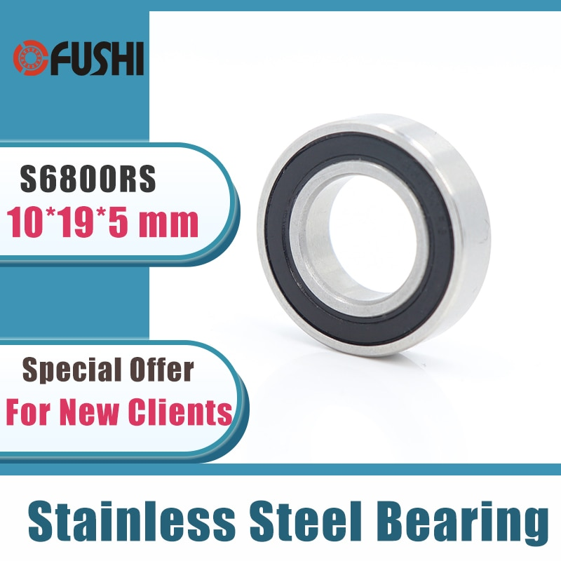 10 قطعة S6800RS تحمل 10*19*5mm ABEC-3 440C الفولاذ المقاوم للصدأ S 6800RS الكرات 6800 الفولاذ المقاوم للصدأ الكرة تحمل