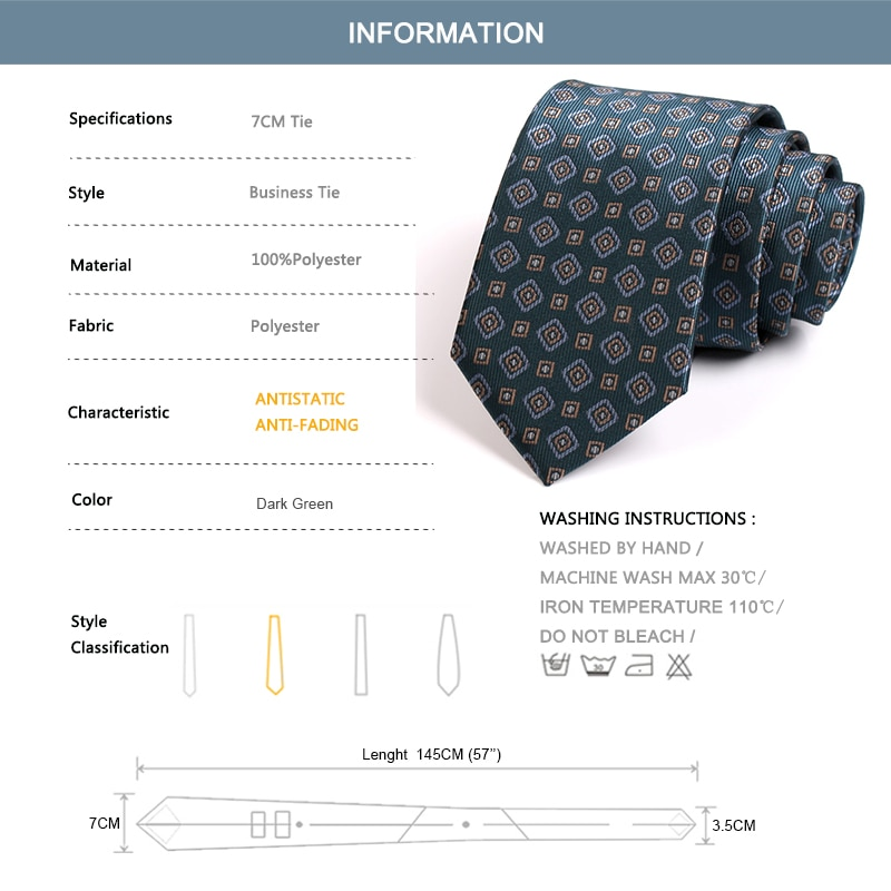 High Quality Men's Tie 2020 New Fashion Dark Green 7CM Ties for Men Business Suit Work Neck Tie With Gift Boxwith Gift Box