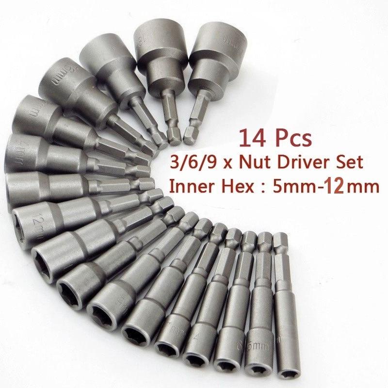14 pièces 5-12mm hexagonale écrou tournevis foret à douille tournevis clé ensemble foret adaptateur pour tournevis électrique poignée outils