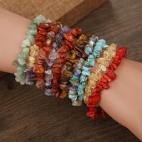 9 styles handmade stretch chip stone bracelet natural irregular charm rope wristband gift party wedding jewelry