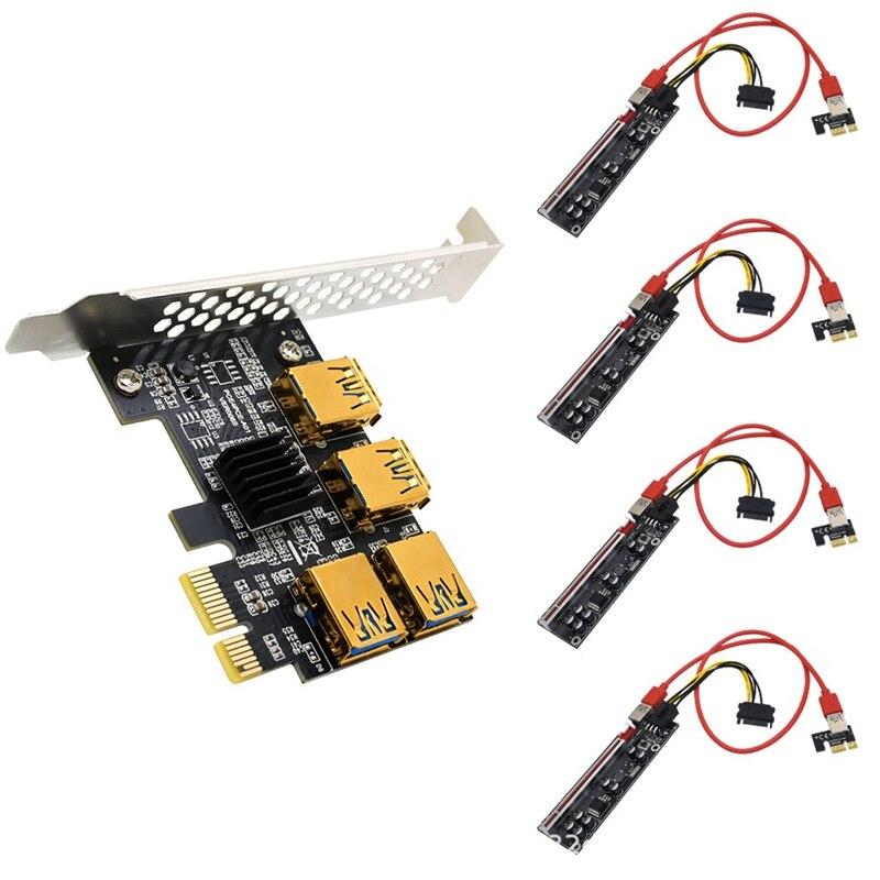 كرت توسيع PCI-E واحد لأربعة USB PCI-E 1X إلى PCI-E 16X 6Pin بطاقة توسيع كابل تمديد الرسومات لتعدين BTC