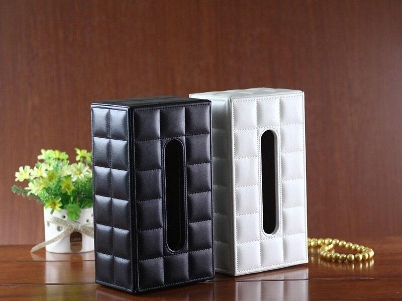 Caja de The bandanas de cuero para decoración de coche caja de The bandanas con forma rectangular en color negro moderno y blanco