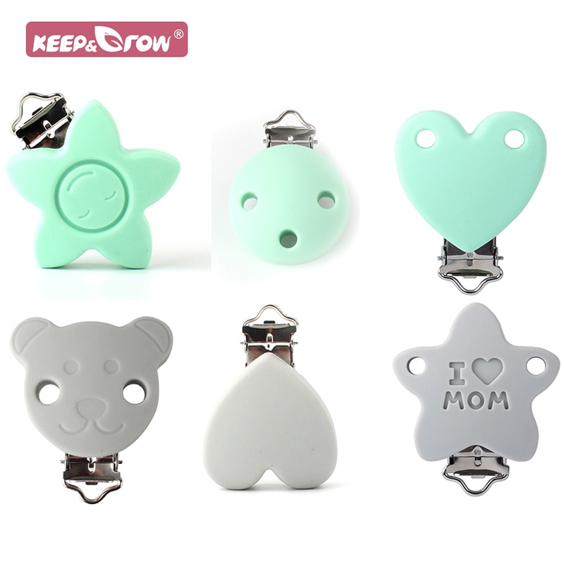 Keep&Grow 2pcs Baby Silicone Teether Clips Pacifier Holder Chains Shape Heart Baby Teething Accessor