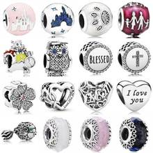 White Rabbit Graduate Owl Fantasyland Castle Heart Lace Glass Beads 925 Sterling Silver Charm Fit Pandora Bracelet Diy Jewelry