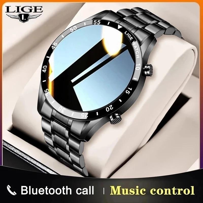 LIGE Smart Watch Men Touch Screen Watch Heart Rate Blood Pressure Monitoring Information Reminder Bl