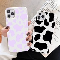 cow print phone case white candy color for iphone 11 12 mini pro xs max 8 7 6 6s plus x se 2020 xr