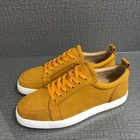 luxury couple low cut red bottom orange litchi genuine leather shoes for men footwear casual flats loafers no rivets sneakers