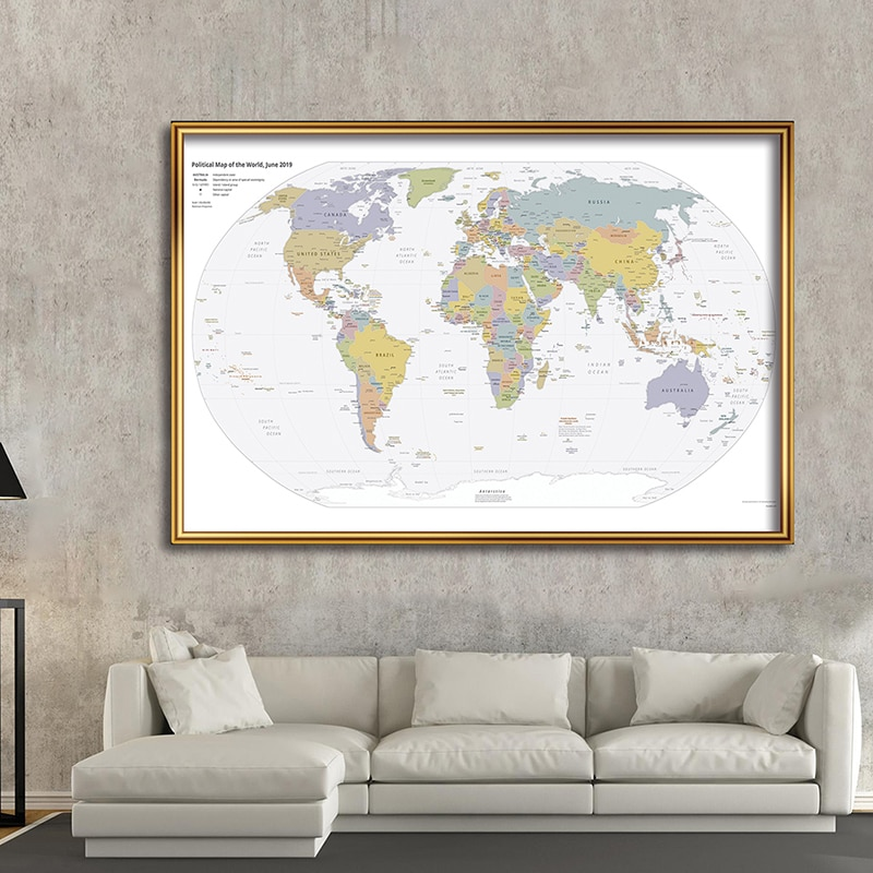 225*150 cm 2019 The World Political Map Non-woven Canvas Painting Wall Poster Living Room Home Decoration School Supplies