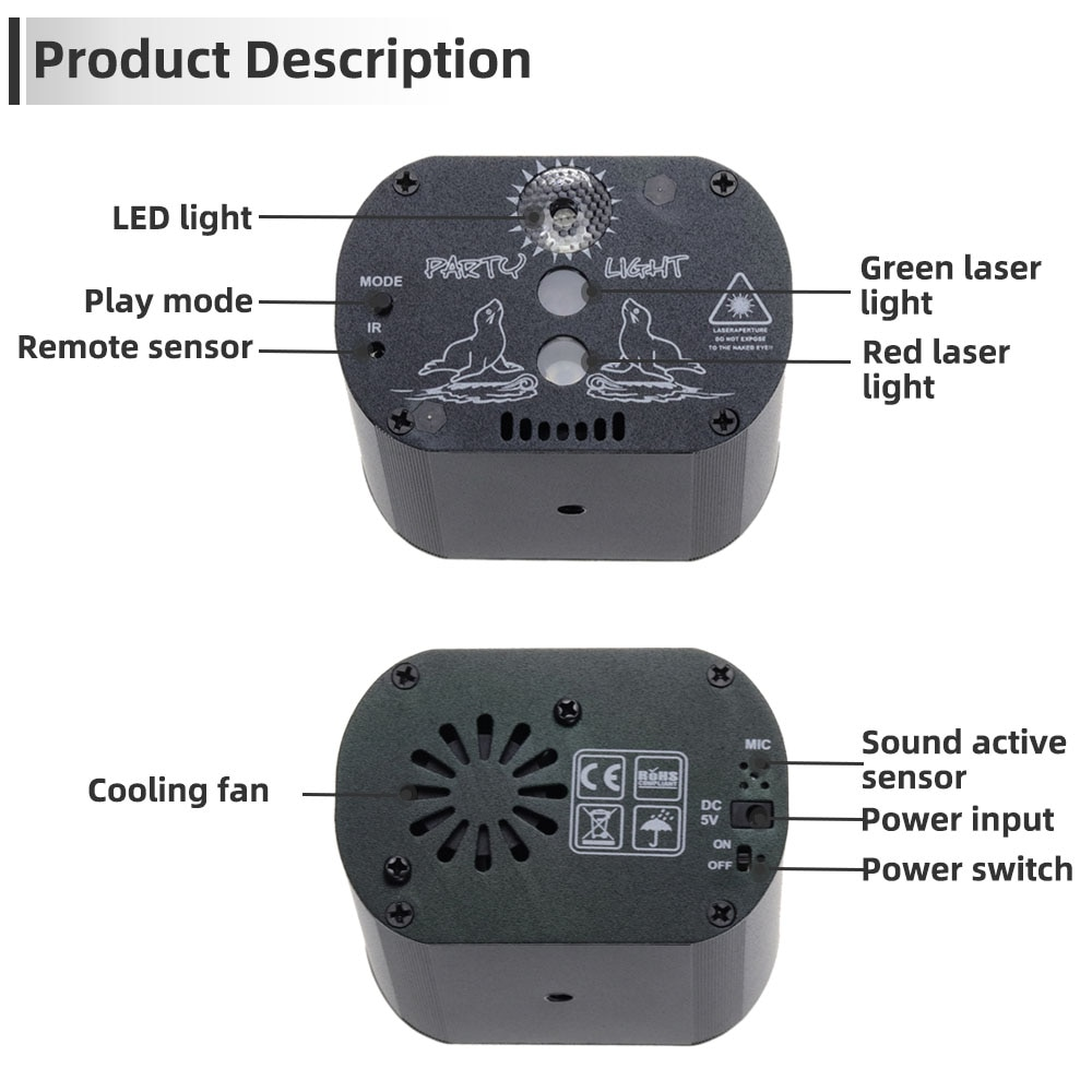 60 128 режимов Mini RGB LED Disco Party Light DJ Laser Projector USB Rechargeable UV Lamp for Indoor Birthday Home Party Christmas