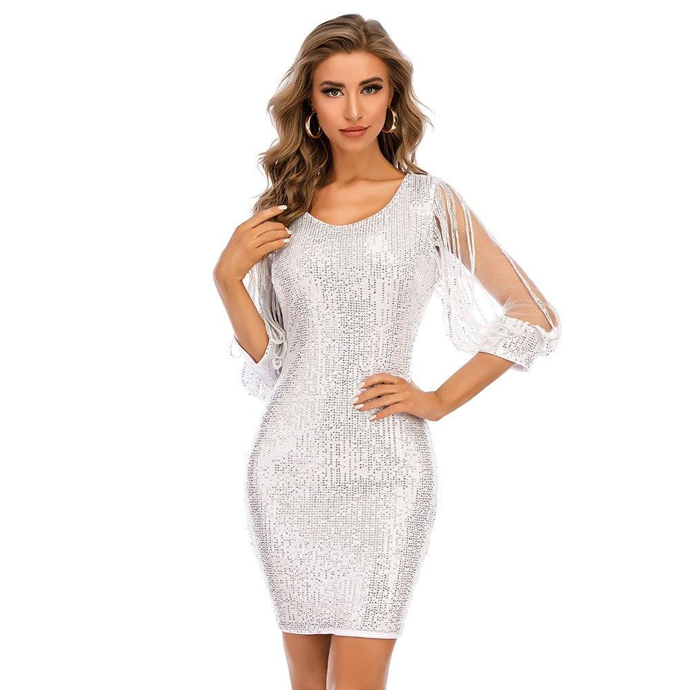 فستان كوكتيل فضي للنساء ، نصف كم ، مستقيم ، ملهى ليلي ، حفلة ، عطلة ، فستان رسمي ، YSAN1025