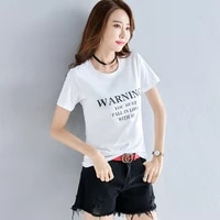 summer 2019 korean version of leisure round collar short sleeve womens new large loose letter t shirt