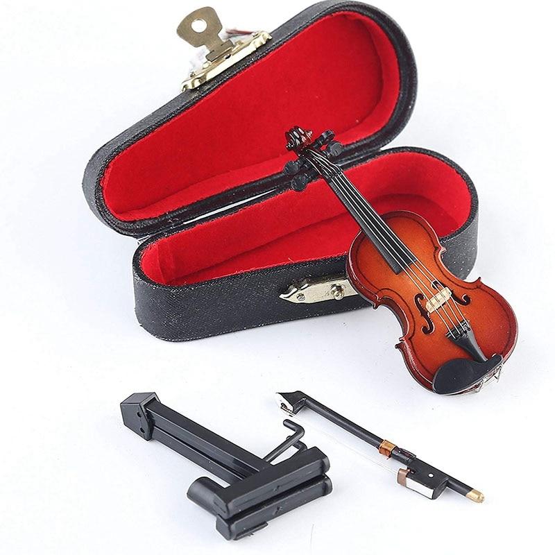 Violín en miniatura de madera con soporte, Arco y Caja Mini instrumento Musical casa de muñecas en miniatura modelo decoración del hogar (3,15 inchX1.1