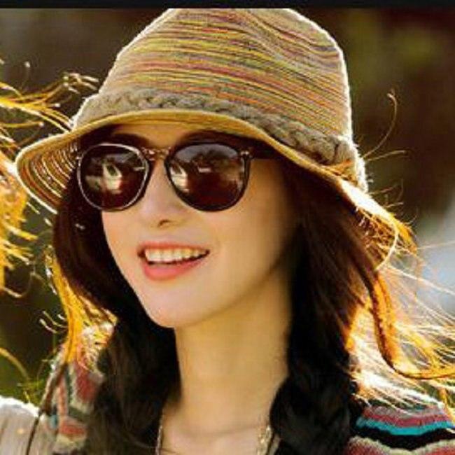 GAOKE, nueva moda, sombreros coloridos de verano para el sol, sombreros de paja para la playa, sombrero de fieltro transpirable informal para viaje, sombrero de Trilby bohemio