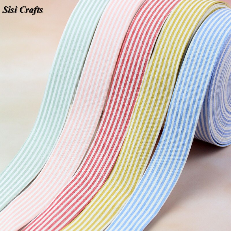 Cinta para artesanía Sisi, cinta de rayas rosa y blanca, 10 25 40mm, tela azul amarilla, embellecedor diagonal, capas DIY, lazo para cabello, Material del Collar