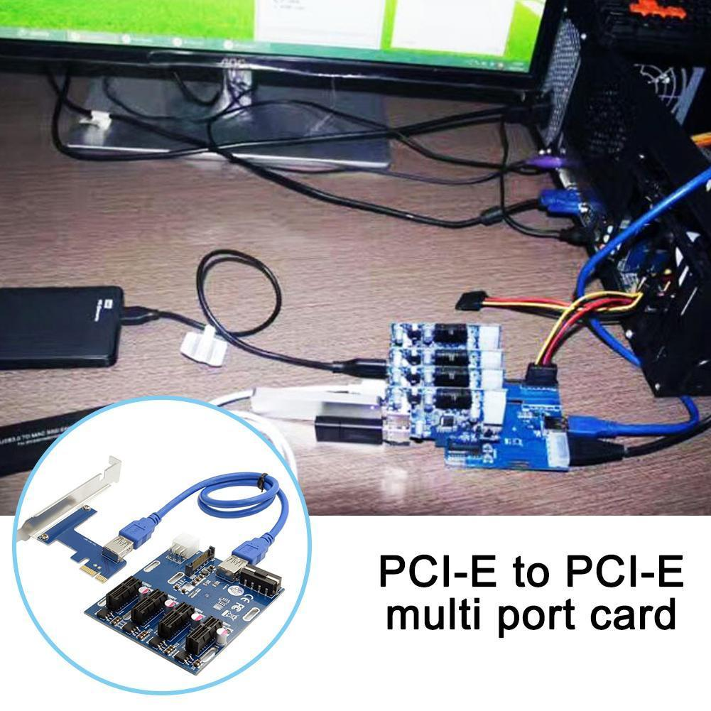 PCI-E To PCIe Adapter Card 1 To 4PCIE1X Expansion Card Four 1 To Expansion Display Lines One Tow 4 4 Ports Card N8U9