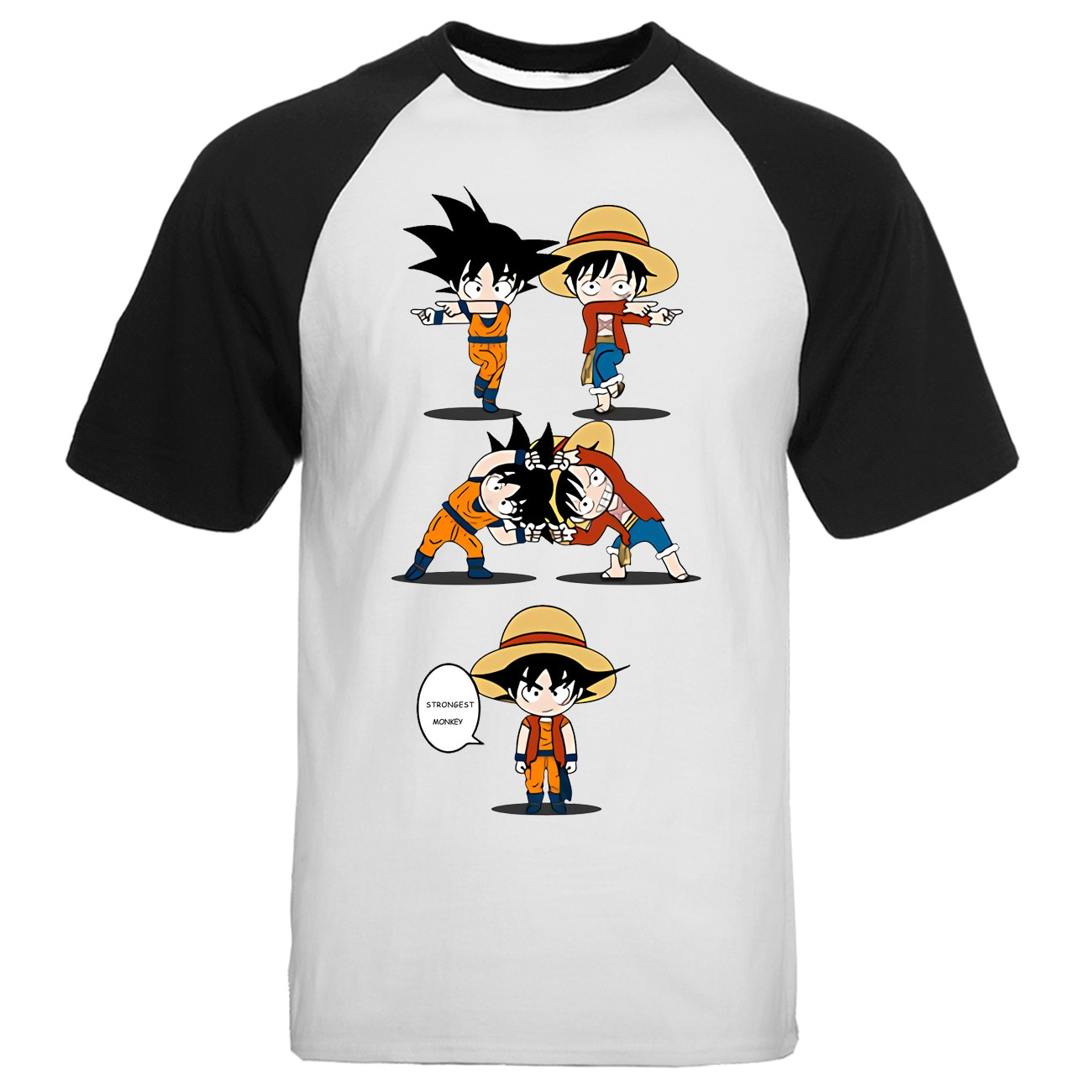 Un golpe hombre Saitama Bola de Dragón T Shirt hombres Raglan divertida fusión verano Camisetas Camiseta de algodón de manga corta Camisetas