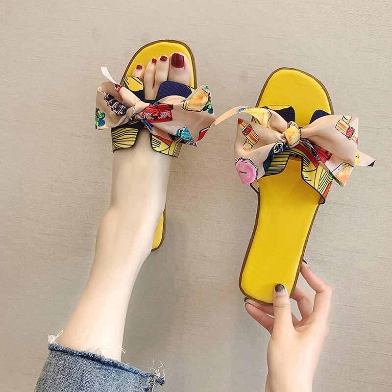 2021 Summer Women's Slippers Women Bowtie Ribbon Sandals Flats Slides Woman House Outdoor Beach Shoe