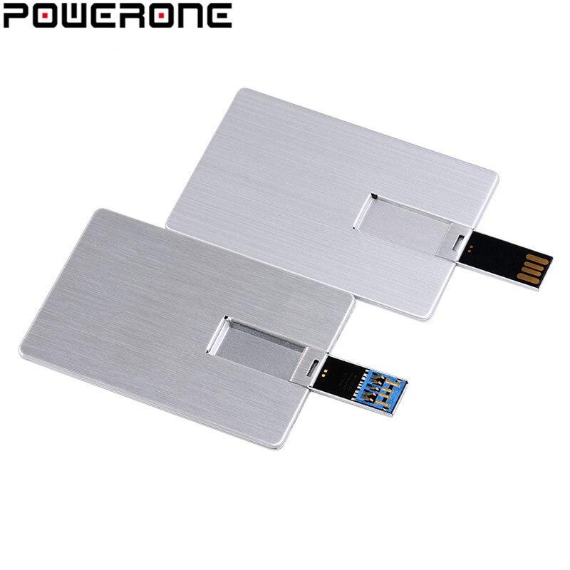 Pendrive USB POWERONE de 4GB, 8GB, 16GB, 32GB, 64GB, tarjeta de Metal, Pendrive usb para regalo empresarial, Pendrive de tarjeta de crédito