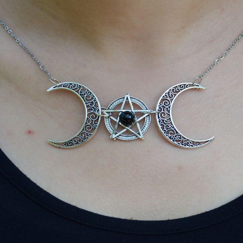Collar pentagrama pagano bruja luna creciente Wicca colgante collares joyería gótica