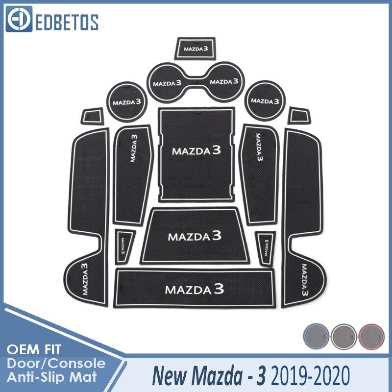 Esteras con surcos para puerta para MAZDA3 2019-2020 nuevos accesorios MAZDA 3 alfombrilla antideslizante ranura para puerta posavasos interiores de coche alfombrilla de goma