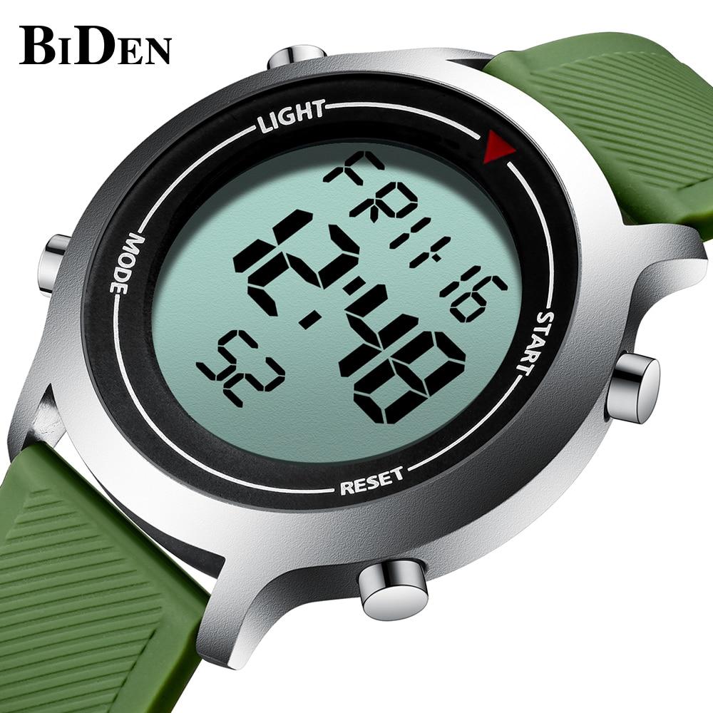 BIDEN Casual Digital Mens Watches Fashion Classic Male Wrist Watches Waterproof Green Silicone Tape New Arrival Erkek Kol Saati