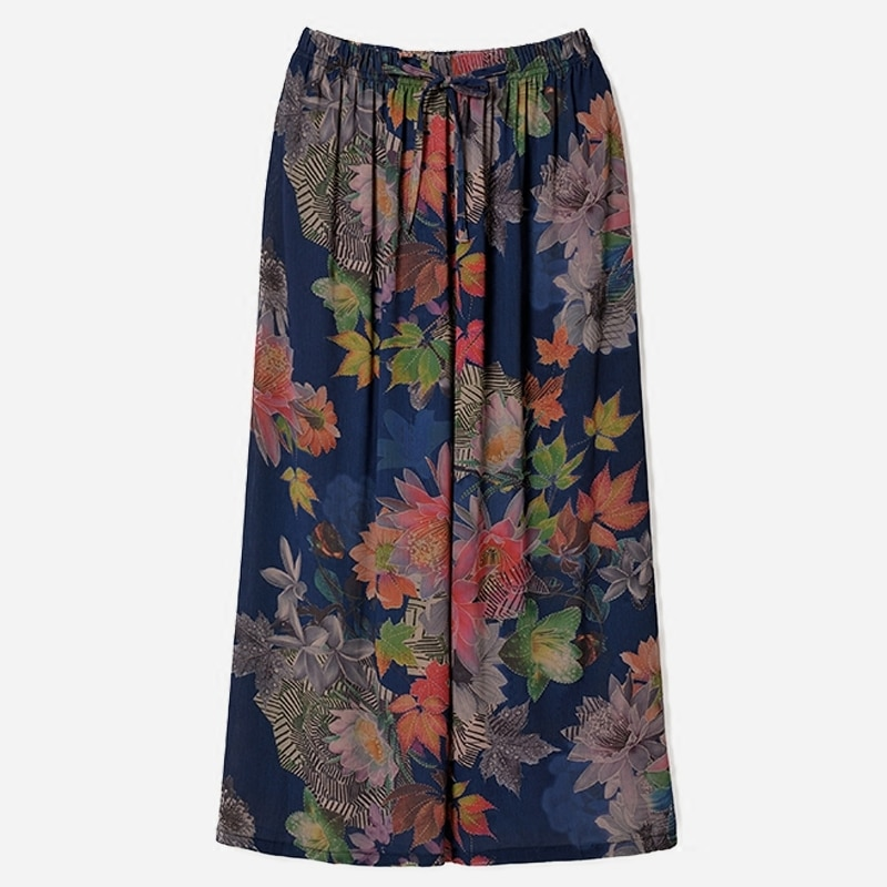 Летние широкие брюки женские повседневные брюки до щиколотки с цветочным принтом женские свободные брюки с эластичной резинкой на талии бо...