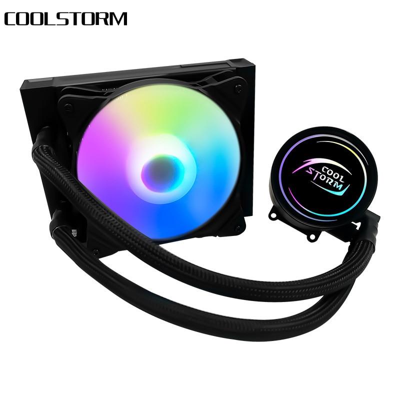 COOLSTORM 12 سنتيمتر السائل CPU برودة المياه التبريد إنتل LGA2066 2011-V3 1151/1155/1156/X58/X79 AMD المقبس AM4 4 دبوس PWM RGB المشجعين