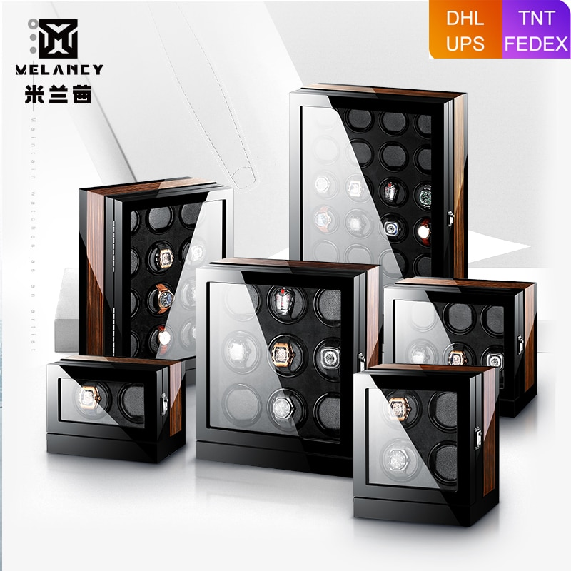 Watch Winder Motor 2 4 6 9 12 24 Auto Watches Box Wood Touch Screen Black Boxs Watches Storage