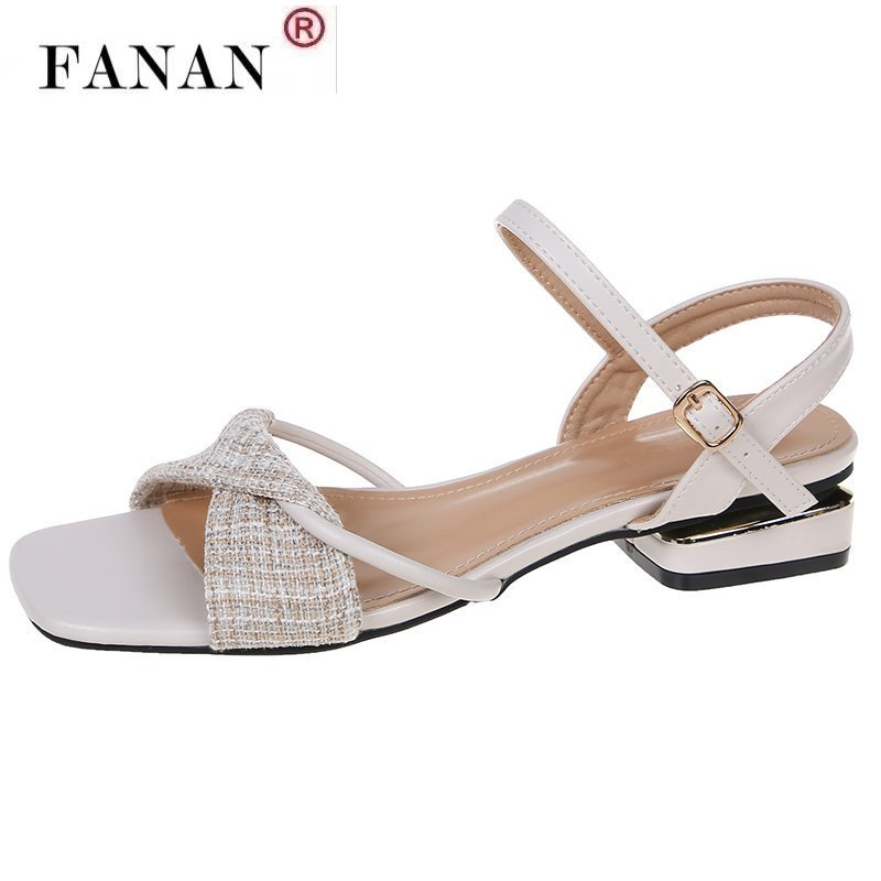 2021 Plaids Leather Sandals Women Shoes Buckle Square Toe High Heels Sandals Party Wedding Cross Sandals Zapatos De Mujer Tacon  - buy with discount