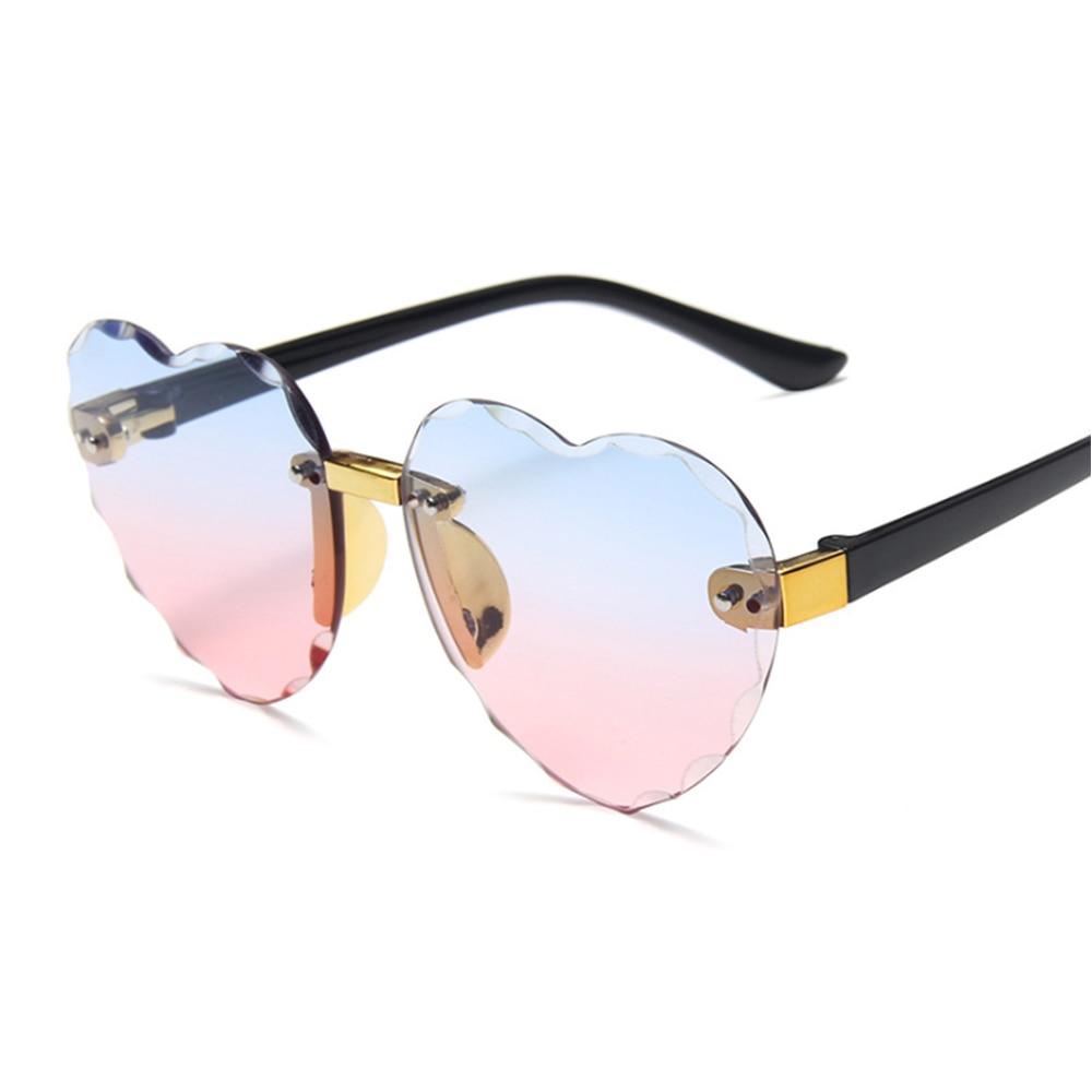 Criança bonito coração sem aro quadro óculos de sol crianças cinza rosa vermelho lente moda meninos meninas uv400 proteção óculos