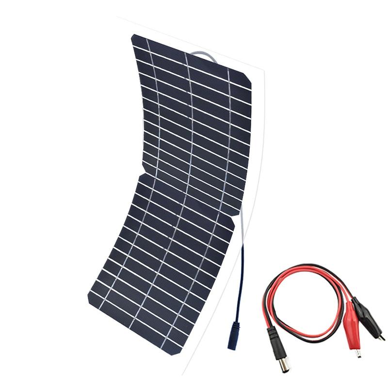DC12V 10W Portable Solar Panel semi-flexible Monocrystalline Solar Cell Outdoor Connector DIY Solar Charger Panel Solar Power