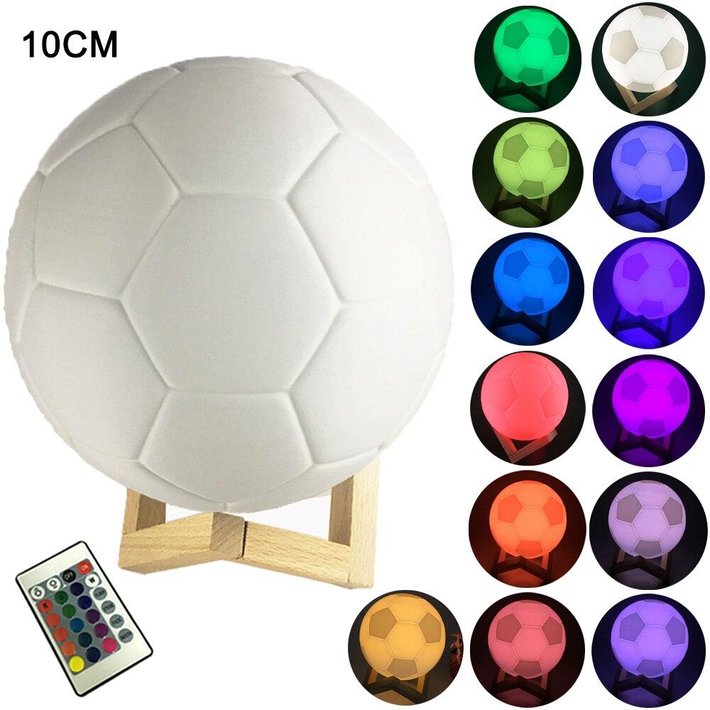 Nacht licht Touch/Fernbedienung 16 Farben Veränderbar 3D Druck Fußball Design LED Tisch lampe Fußball Nacht Lampe Jungen geschenke