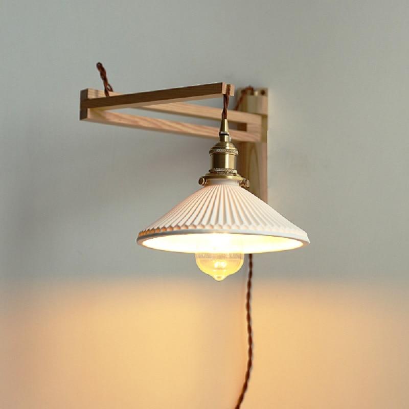 Xianfan جديد اليابانية الخشب الجدار مصباح لغرفة المعيشة الحد الأدنى مصابيح للمطبخ تزيين الإضاءة E27 مطوي عاكس الضوء