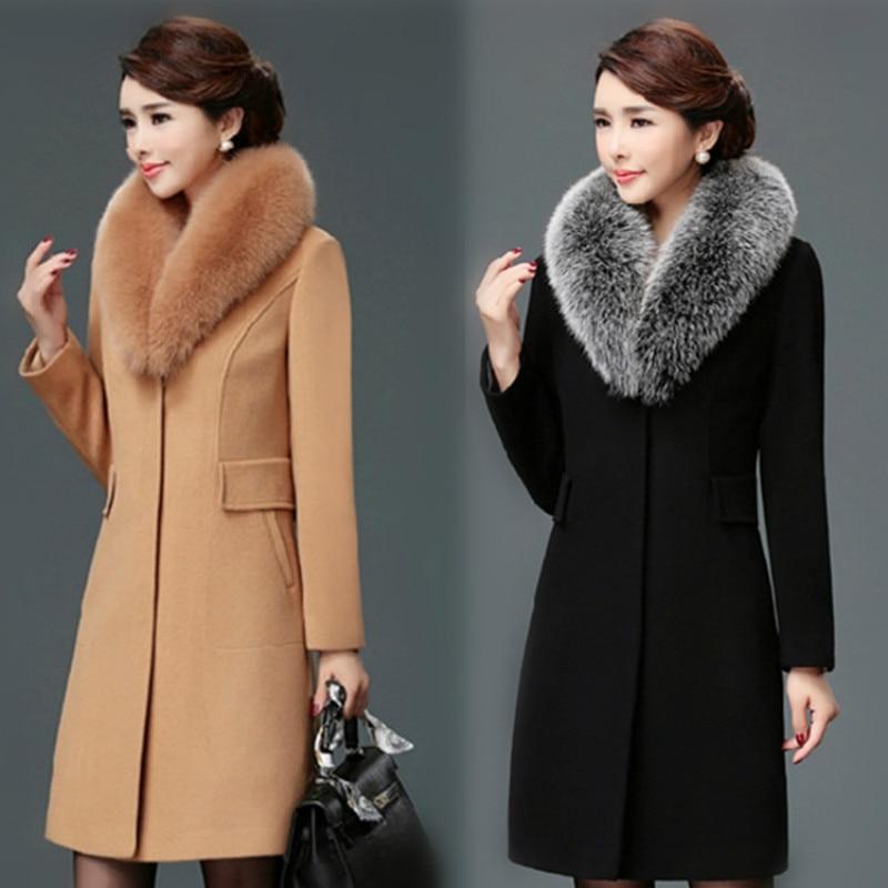المرأة الصوف Blends معطف الشتاء الخريف 2020 أزياء ضئيلة الأم الفراء طوق الصوف سترة طويلة ملابس خارجية القمم أنثى حجم M-3XL