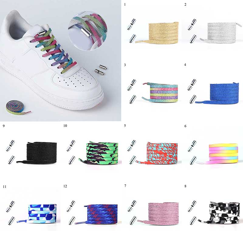 New Elastic Locking Shoelaces Flats No Tie Shoelace Quick Sneakers Locking Shoe laces Kids Adult Wom