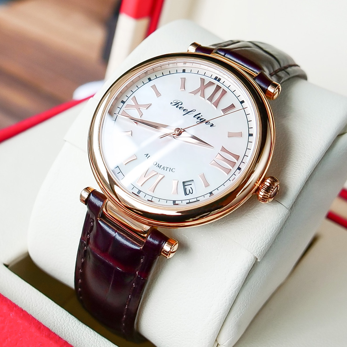 Reef Tiger / RT 2021 Top Brand Luxury Gold Watch Automatic Day Date Watch Waterproof Genuine Leather Watch RGA1595 enlarge