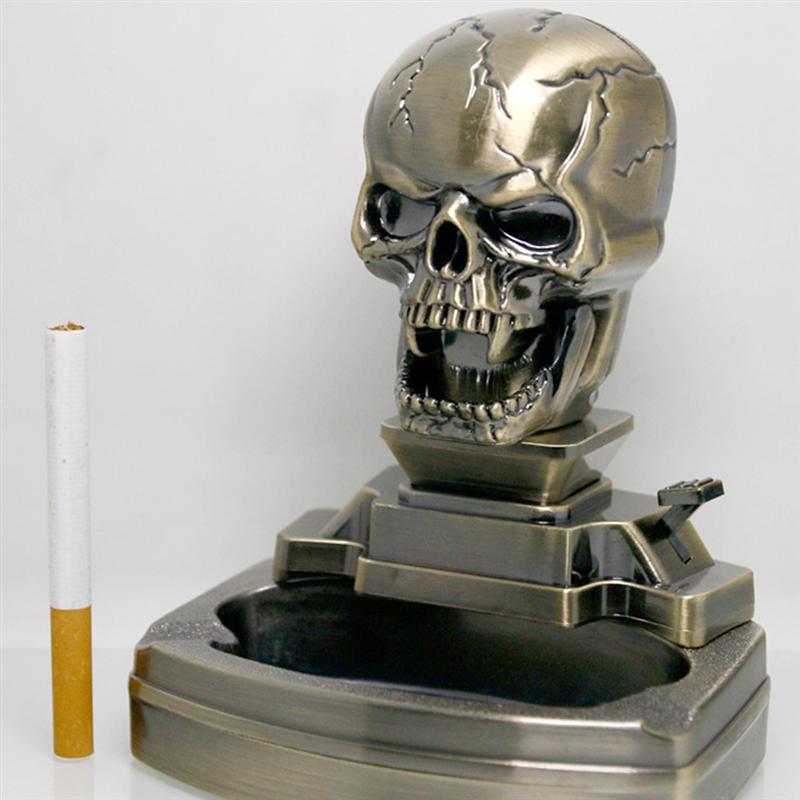 Skull Shape Cigarette Ashtray Household Ashtray With Cigar Lighter Ghost Desk Ashtray With Lighter H
