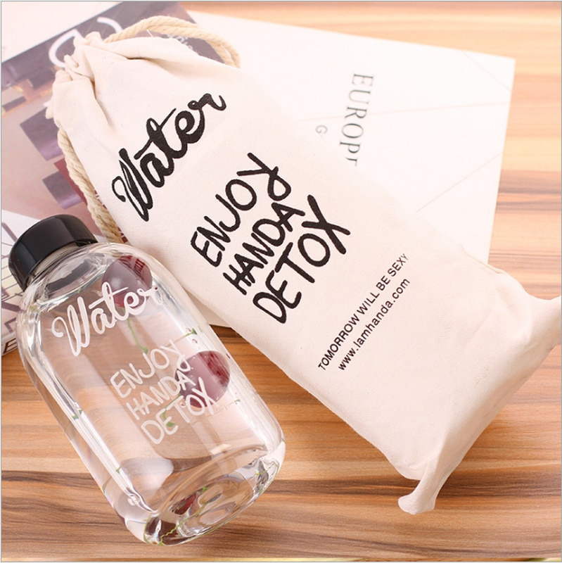 1000ml Fashion Scented Large Water bottle with Bag Water Bottle Capacity Portable BPA Free Fruit Lemon Juice Drinking Bottle
