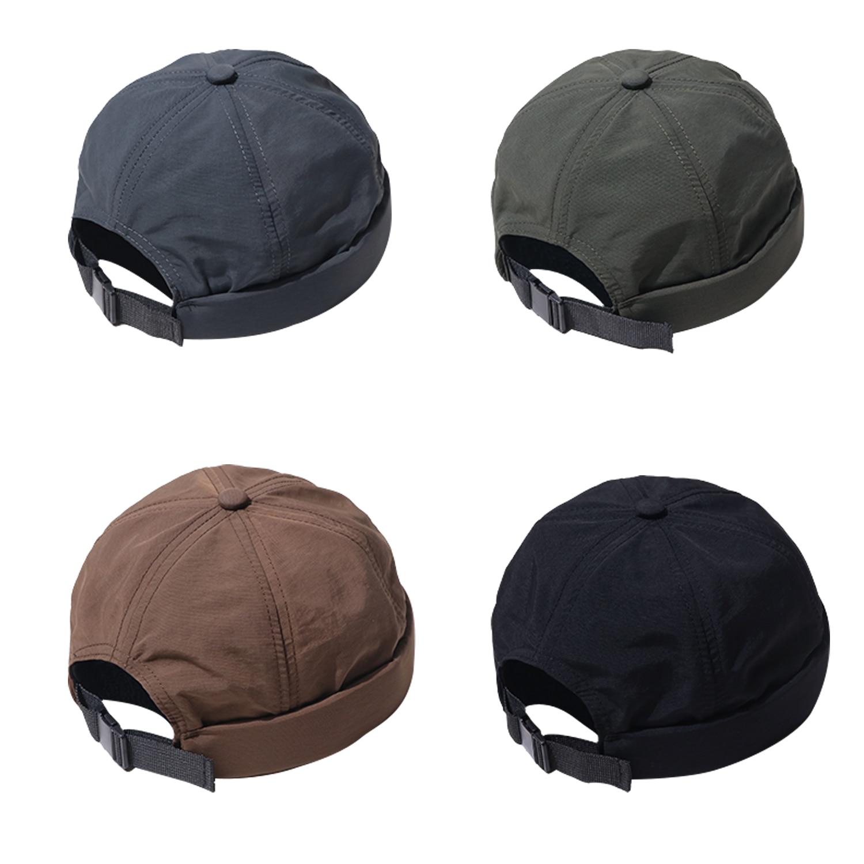 Clape Vintage Dome Hat Mens Solid Color Nylon Beanies For Men Docker Sailor Crimping Brimless Skull